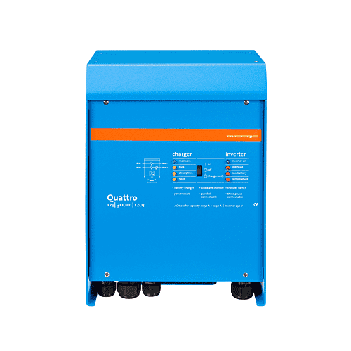 QUATTRO3kVA-15kVA - DC/AC Inverters/ Chargers Lithium Ion Battery Compatible : 3kVA-15kVA Solar energy: AC power available even during a grid failure