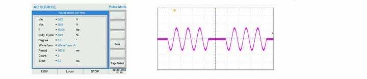 Power Quality line disturbance simulation pulse mode